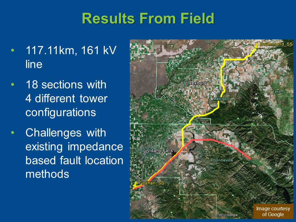 Results From Field 117.11km, 161 kV line 18 sections with 4 different tower configurations Challenges with existing impedance based fault location methods Image courtesy of Google