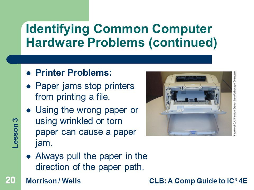 Lesson 3 Morrison / WellsCLB: A Comp Guide to IC 3 4E 20 Identifying Common Computer Hardware Problems (continued) Printer Problems: Paper jams stop printers from printing a file.