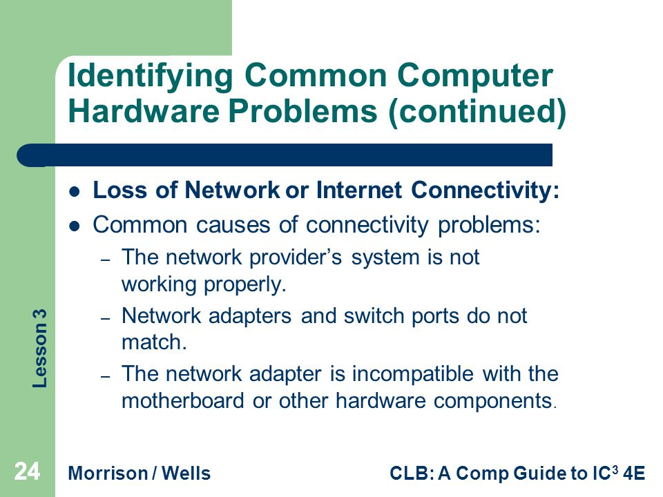 Lesson 3 Morrison / WellsCLB: A Comp Guide to IC 3 4E 24 Identifying Common Computer Hardware Problems (continued) Loss of Network or Internet Connectivity: Common causes of connectivity problems: – The network provider's system is not working properly.