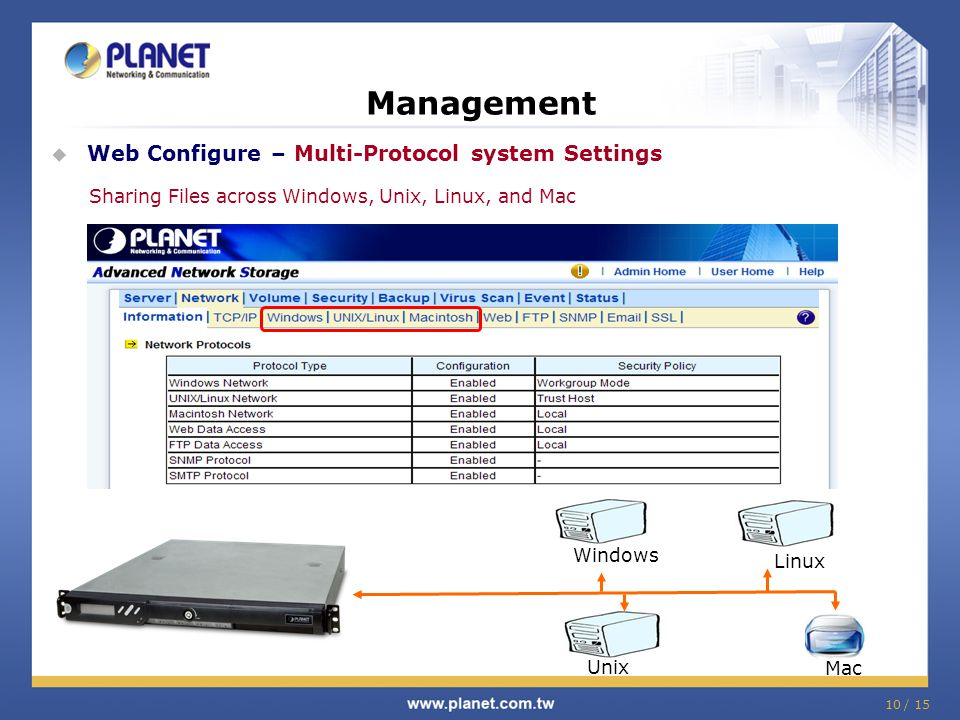 10 / 15 Management  Web Configure – Multi-Protocol system Settings Sharing Files across Windows, Unix, Linux, and Mac Windows Linux Unix Mac