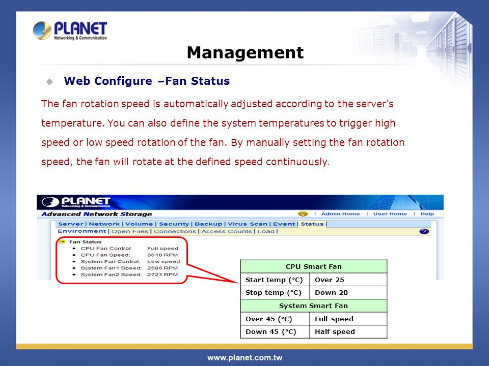 Management  Web Configure –Fan Status The fan rotation speed is automatically adjusted according to the server s temperature.