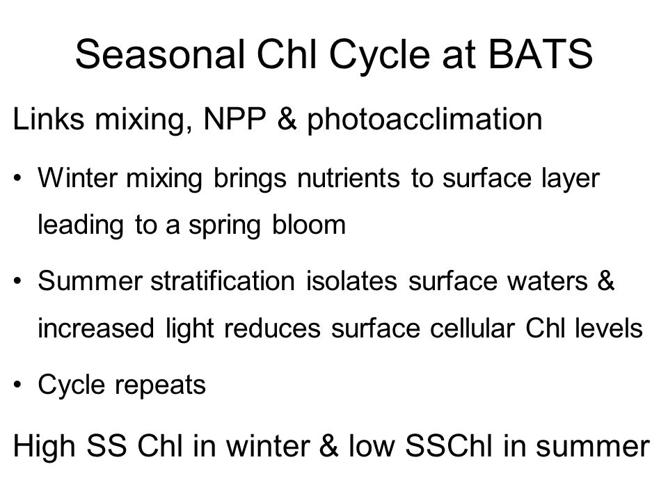 Seasonal Chl Cycle at BATS Links mixing, NPP & photoacclimation Winter mixing brings nutrients to surface layer leading to a spring bloom Summer strat