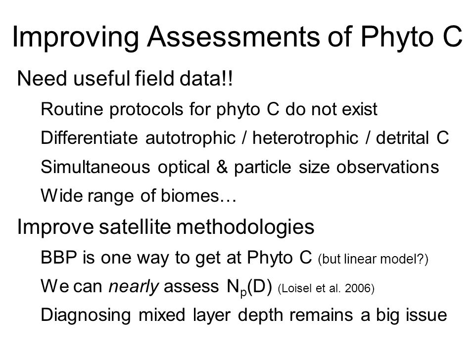 Improving Assessments of Phyto C Need useful field data!.