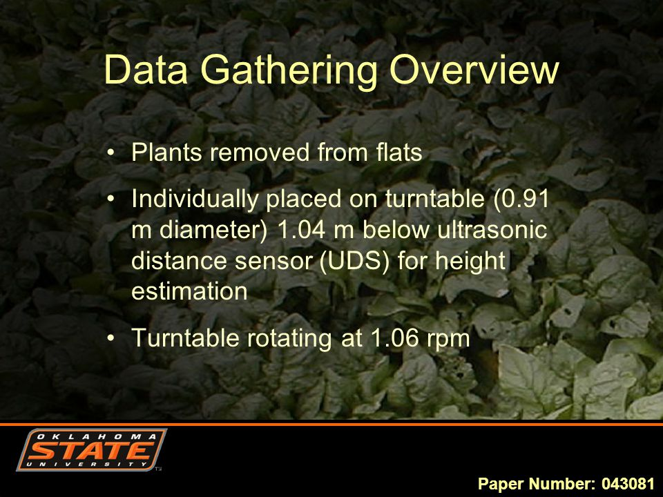 Data Gathering Overview Plants removed from flats Individually placed on turntable (0.91 m diameter) 1.04 m below ultrasonic distance sensor (UDS) for height estimation Turntable rotating at 1.06 rpm Paper Number: 043081