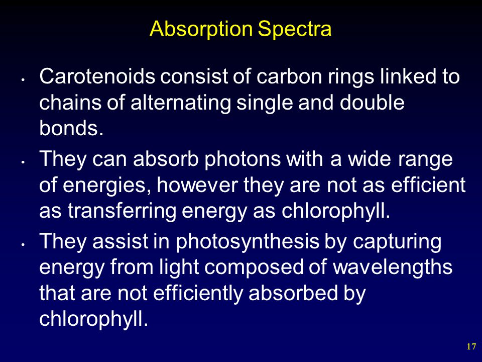 17 Absorption Spectra Carotenoids consist of carbon rings linked to chains of alternating single and double bonds. They can absorb photons with a wide