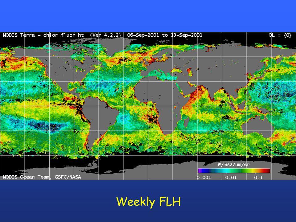 Fluorescence Product Flags Bit 6 FLH/chloro_MODIS > 1 Bit 7 FLH/chloro_MODIS > 0.5 Bit 8 FLH > 2 Bit 9 FLH > 1 Bit 10 chloro = -1 Bit 11 ARP quality ≥ 2 Bit 12 ARP quality = 1 Bit 13 CFE > 0.1