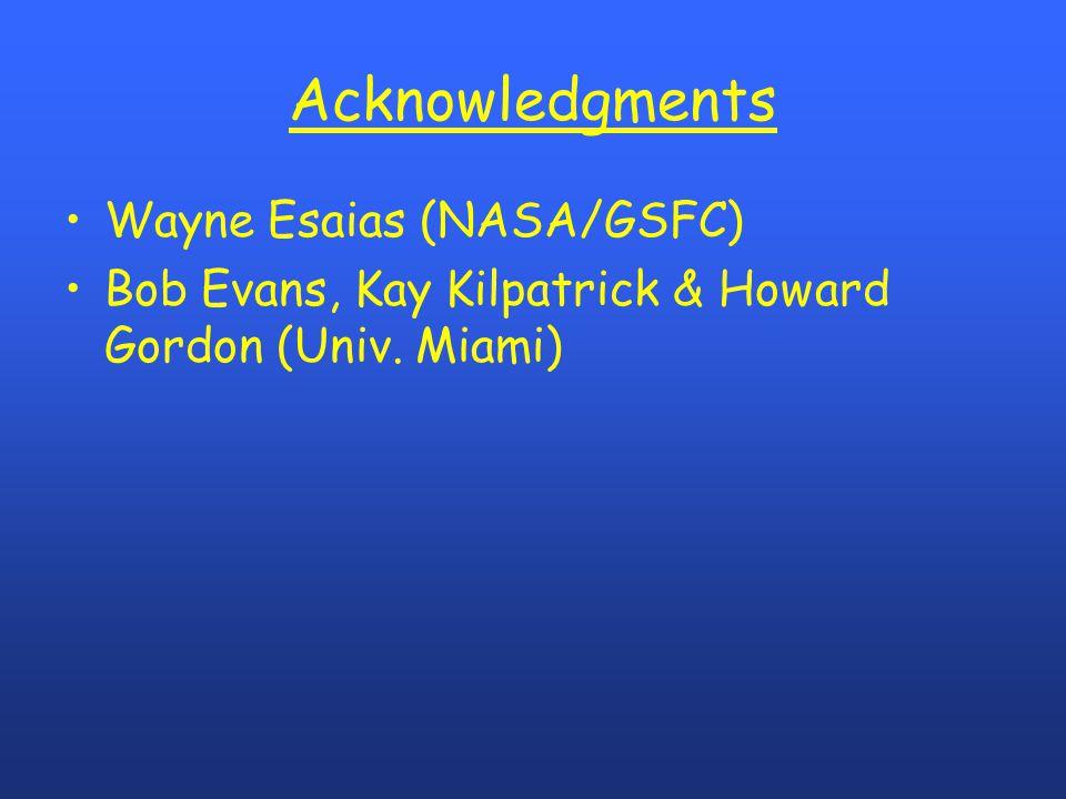 Acknowledgments Wayne Esaias (NASA/GSFC) Bob Evans, Kay Kilpatrick & Howard Gordon (Univ. Miami)