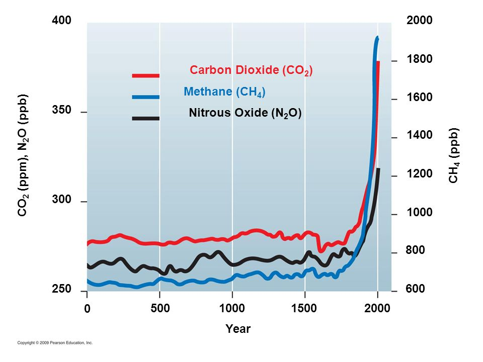 1500 10002000 Year 1000 2000 1800 1600 1400 1200 800 600 500 0 250 400 350 300 Carbon Dioxide (CO 2 ) Methane (CH 4 ) Nitrous Oxide (N 2 O) CO 2 (ppm), N 2 O (ppb) CH 4 (ppb)
