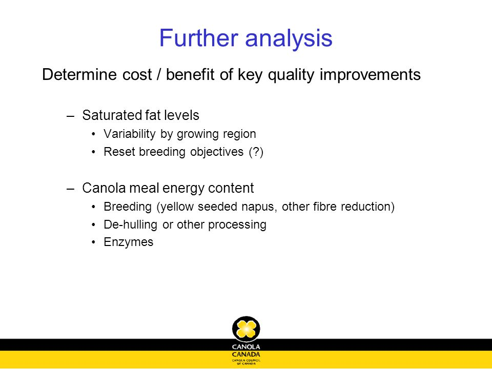 Further analysis Determine cost / benefit of key quality improvements –Saturated fat levels Variability by growing region Reset breeding objectives (?) –Canola meal energy content Breeding (yellow seeded napus, other fibre reduction) De-hulling or other processing Enzymes