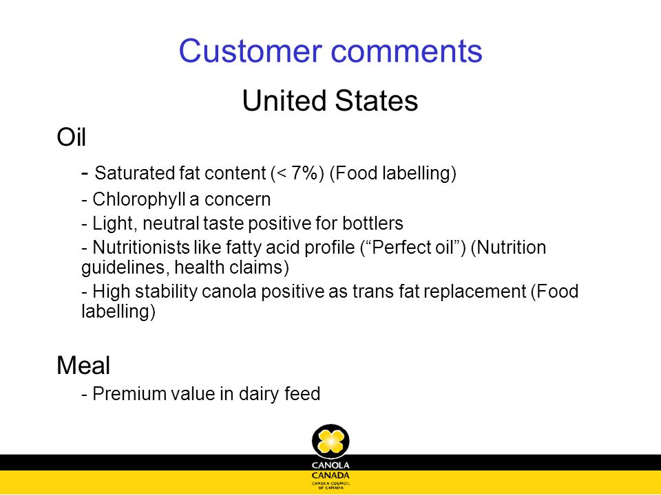 Customer comments United States Oil - Saturated fat content (< 7%) (Food labelling) - Chlorophyll a concern - Light, neutral taste positive for bottlers - Nutritionists like fatty acid profile ( Perfect oil ) (Nutrition guidelines, health claims) - High stability canola positive as trans fat replacement (Food labelling) Meal - Premium value in dairy feed