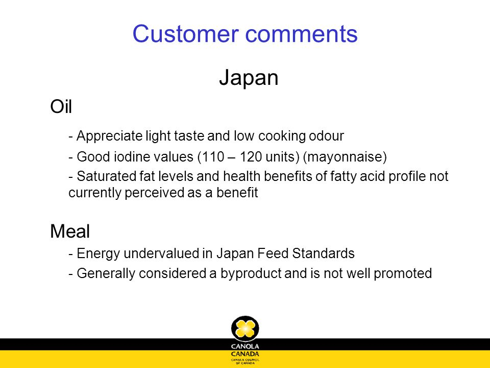 Customer comments Japan Oil - Appreciate light taste and low cooking odour - Good iodine values (110 – 120 units) (mayonnaise) - Saturated fat levels and health benefits of fatty acid profile not currently perceived as a benefit Meal - Energy undervalued in Japan Feed Standards - Generally considered a byproduct and is not well promoted
