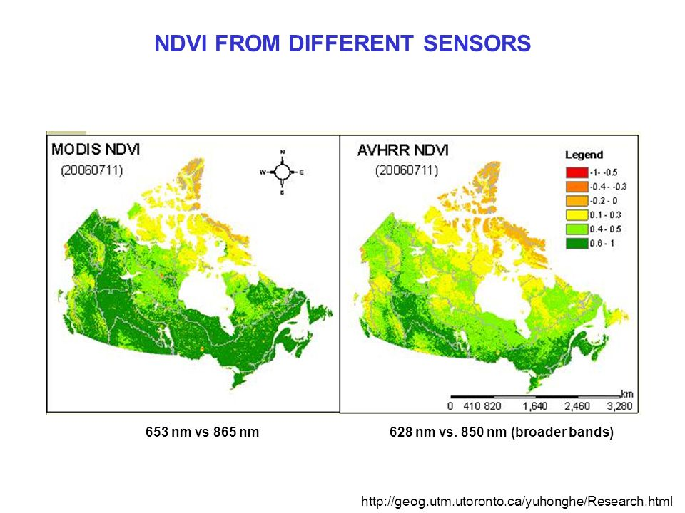 NDVI FROM DIFFERENT SENSORS http://geog.utm.utoronto.ca/yuhonghe/Research.html 628 nm vs.