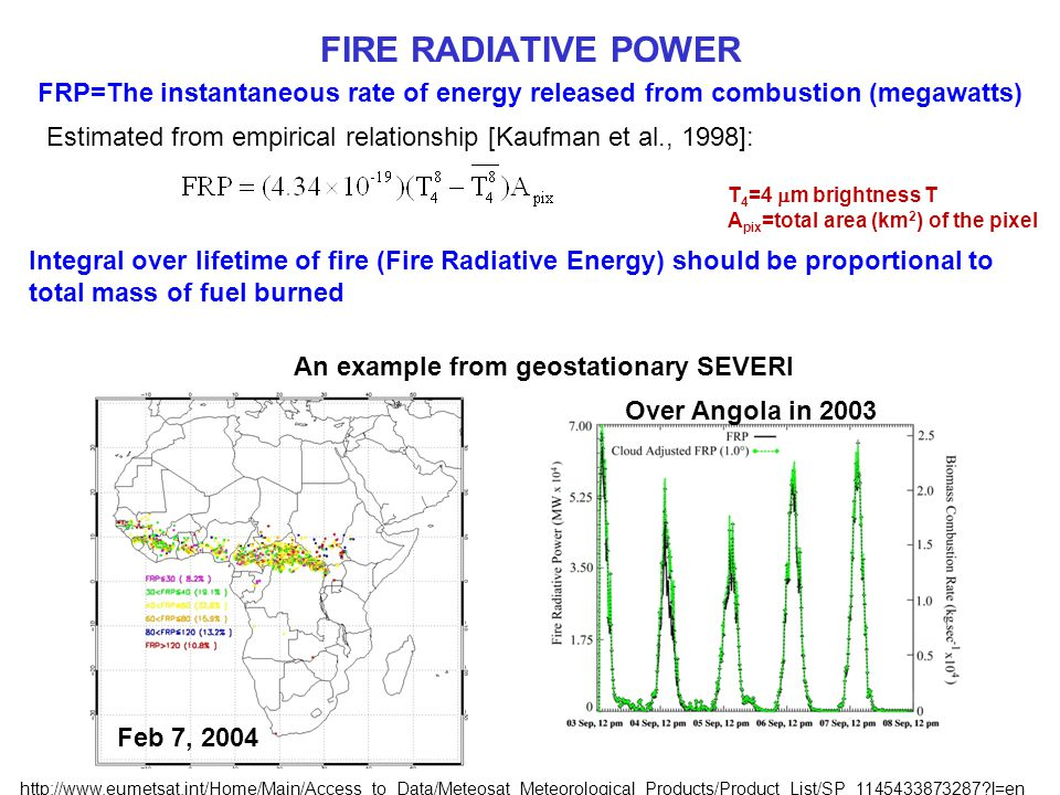 FIRE RADIATIVE POWER FRP=The instantaneous rate of energy released from combustion (megawatts) Estimated from empirical relationship [Kaufman et al., 1998]: T 4 =4  m brightness T A pix =total area (km 2 ) of the pixel Integral over lifetime of fire (Fire Radiative Energy) should be proportional to total mass of fuel burned An example from geostationary SEVERI Feb 7, 2004 Over Angola in 2003 http://www.eumetsat.int/Home/Main/Access_to_Data/Meteosat_Meteorological_Products/Product_List/SP_1145433873287 l=en