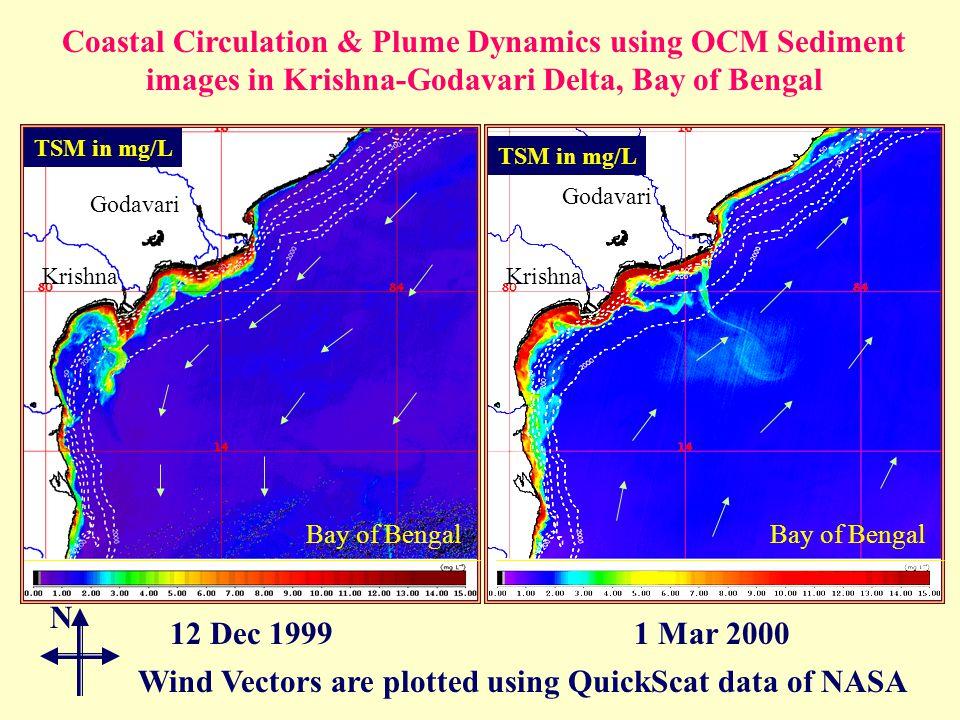 Coastal Circulation & Plume Dynamics using OCM Sediment images in Krishna-Godavari Delta, Bay of Bengal 12 Dec 19991 Mar 2000 TSM in mg/L Bay of Bengal Wind Vectors are plotted using QuickScat data of NASA Godavari Krishna N