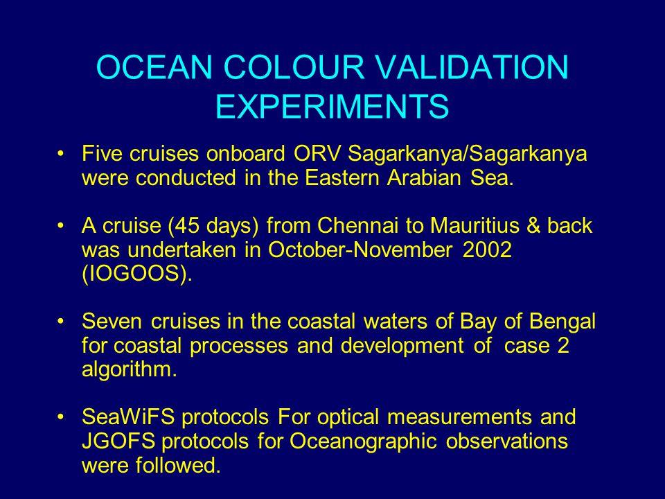 OCEAN COLOUR VALIDATION EXPERIMENTS Five cruises onboard ORV Sagarkanya/Sagarkanya were conducted in the Eastern Arabian Sea.