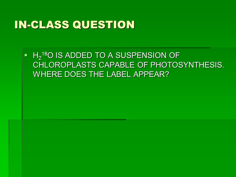 IN-CLASS QUESTION  H 2 18 O IS ADDED TO A SUSPENSION OF CHLOROPLASTS CAPABLE OF PHOTOSYNTHESIS. WHERE DOES THE LABEL APPEAR?