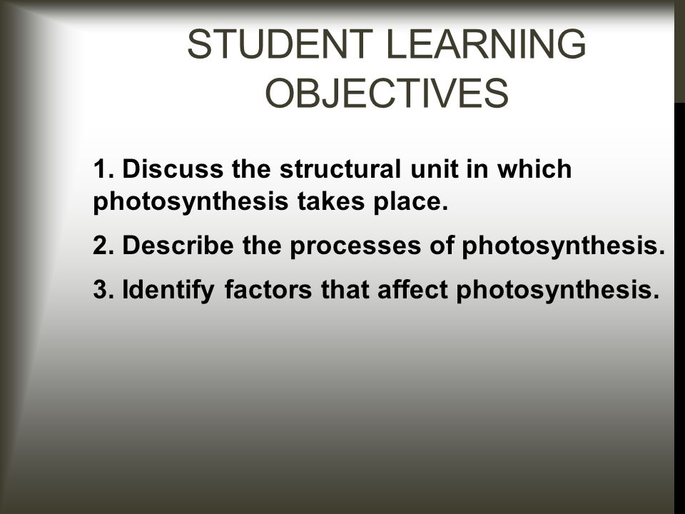 STUDENT LEARNING OBJECTIVES 1. Discuss the structural unit in which photosynthesis takes place.