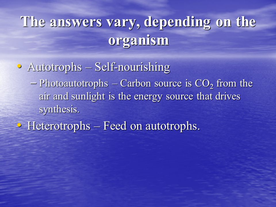 The answers vary, depending on the organism Autotrophs – Self-nourishing Autotrophs – Self-nourishing – Photoautotrophs – Carbon source is CO 2 from the air and sunlight is the energy source that drives synthesis.