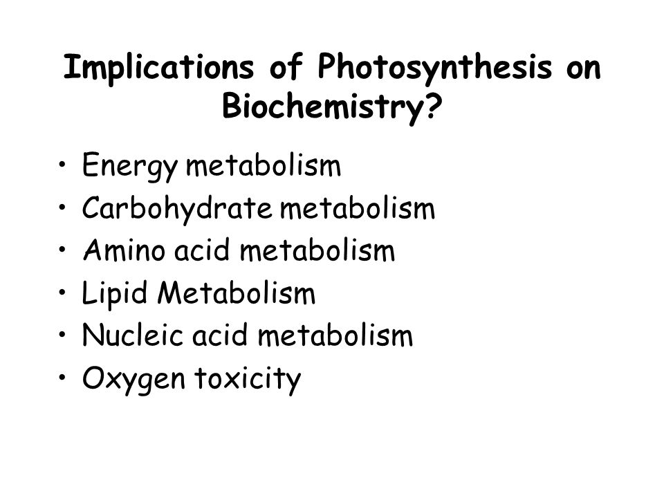 Energy metabolism Carbohydrate metabolism Amino acid metabolism Lipid Metabolism Nucleic acid metabolism Oxygen toxicity Implications of Photosynthesis on Biochemistry
