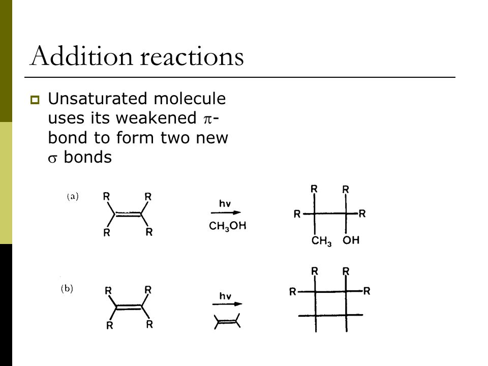 Addition reactions  Unsaturated molecule uses its weakened - bond to form two new  bonds