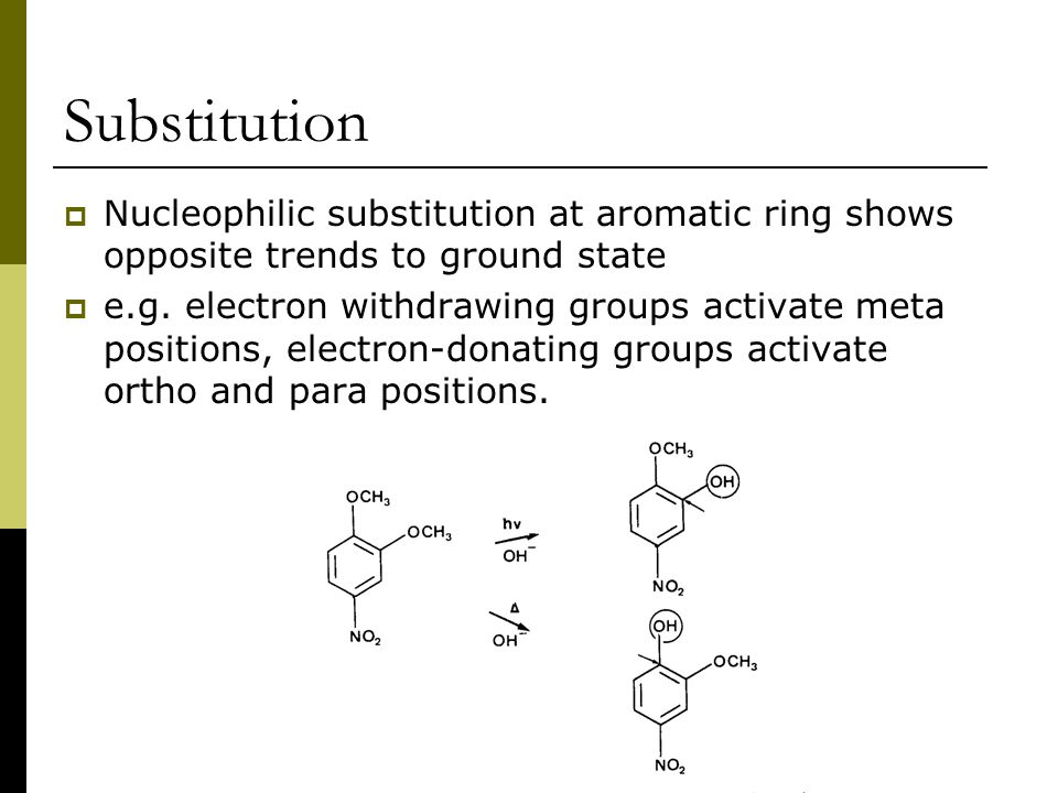 Substitution  Nucleophilic substitution at aromatic ring shows opposite trends to ground state  e.g.