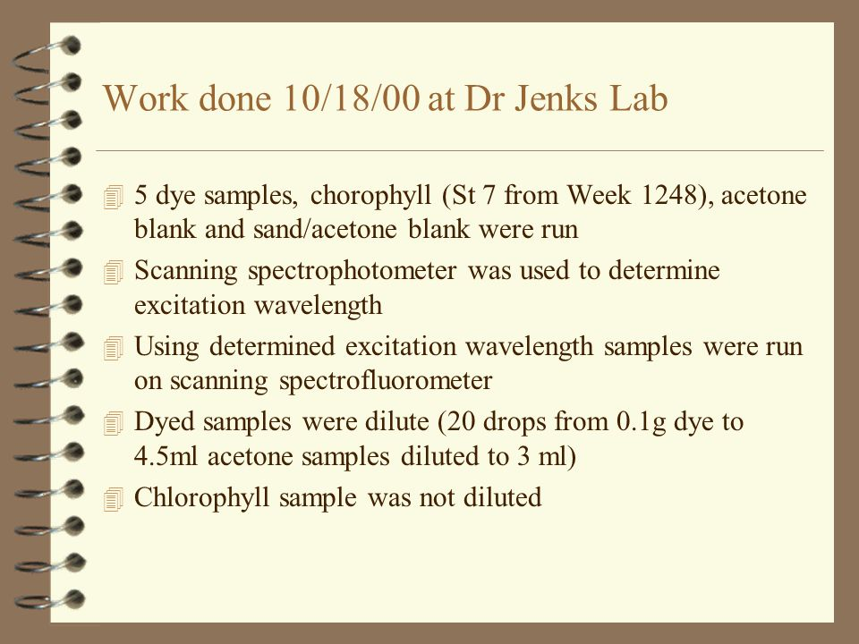 Work done 10/18/00 at Dr Jenks Lab 4 5 dye samples, chorophyll (St 7 from Week 1248), acetone blank and sand/acetone blank were run 4 Scanning spectrophotometer was used to determine excitation wavelength 4 Using determined excitation wavelength samples were run on scanning spectrofluorometer 4 Dyed samples were dilute (20 drops from 0.1g dye to 4.5ml acetone samples diluted to 3 ml) 4 Chlorophyll sample was not diluted