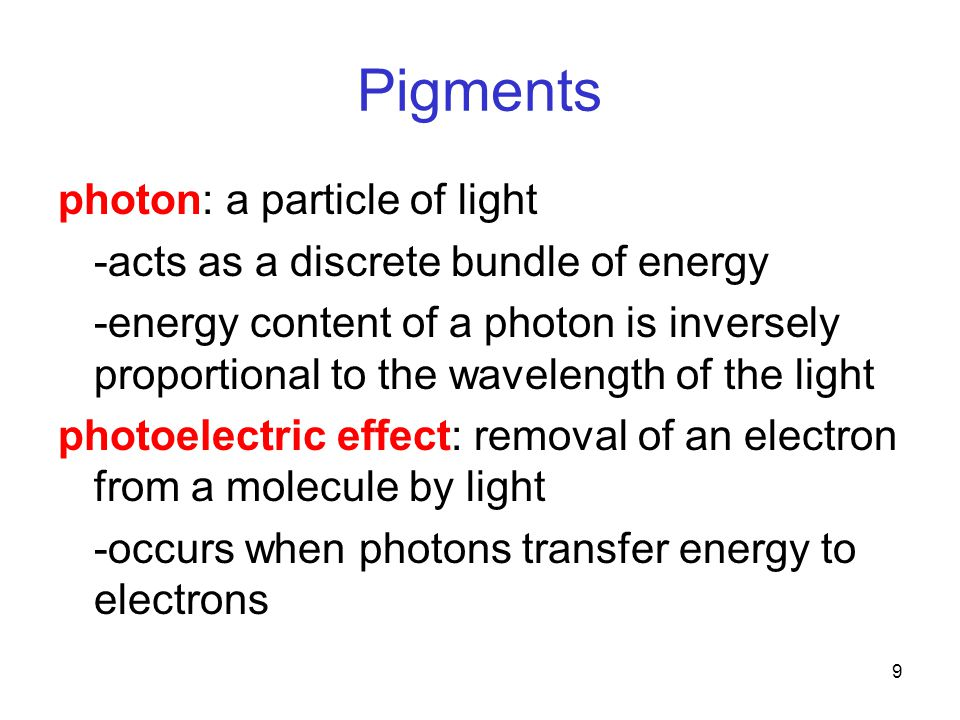 9 Pigments photon: a particle of light -acts as a discrete bundle of energy -energy content of a photon is inversely proportional to the wavelength of the light photoelectric effect: removal of an electron from a molecule by light -occurs when photons transfer energy to electrons