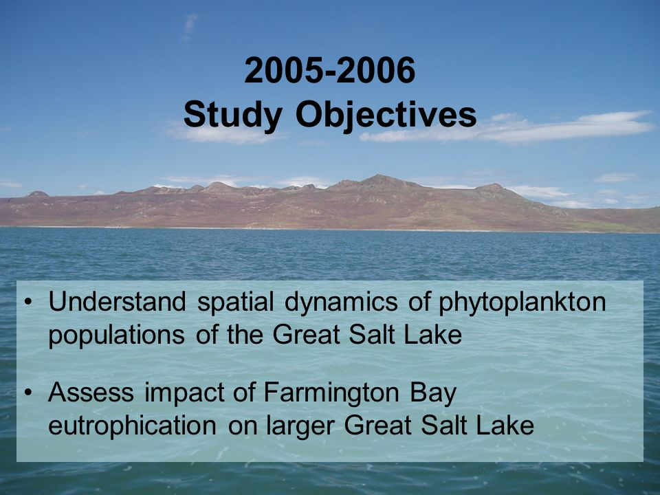 2005-2006 Study Objectives Understand spatial dynamics of phytoplankton populations of the Great Salt Lake Assess impact of Farmington Bay eutrophication on larger Great Salt Lake