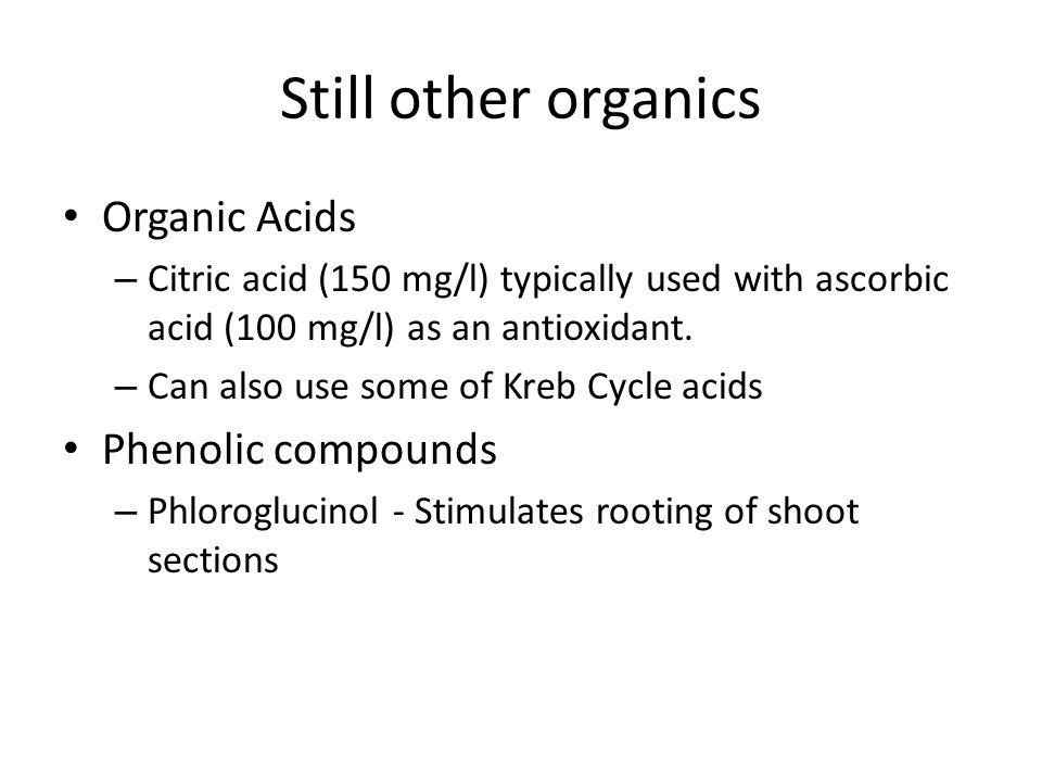 Still other organics Organic Acids – Citric acid (150 mg/l) typically used with ascorbic acid (100 mg/l) as an antioxidant.