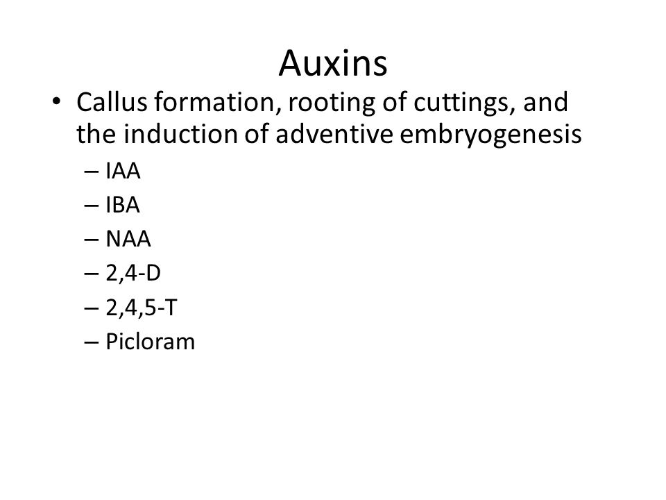 Auxins Callus formation, rooting of cuttings, and the induction of adventive embryogenesis – IAA – IBA – NAA – 2,4-D – 2,4,5-T – Picloram