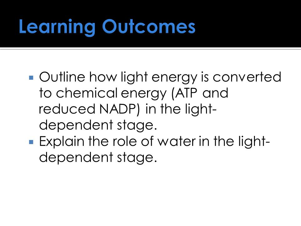 Learning Outcomes  Outline how light energy is converted to chemical energy (ATP and reduced NADP) in the light- dependent stage.