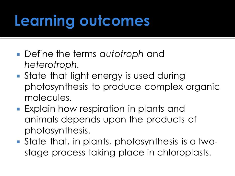Learning outcomes  Define the terms autotroph and heterotroph.