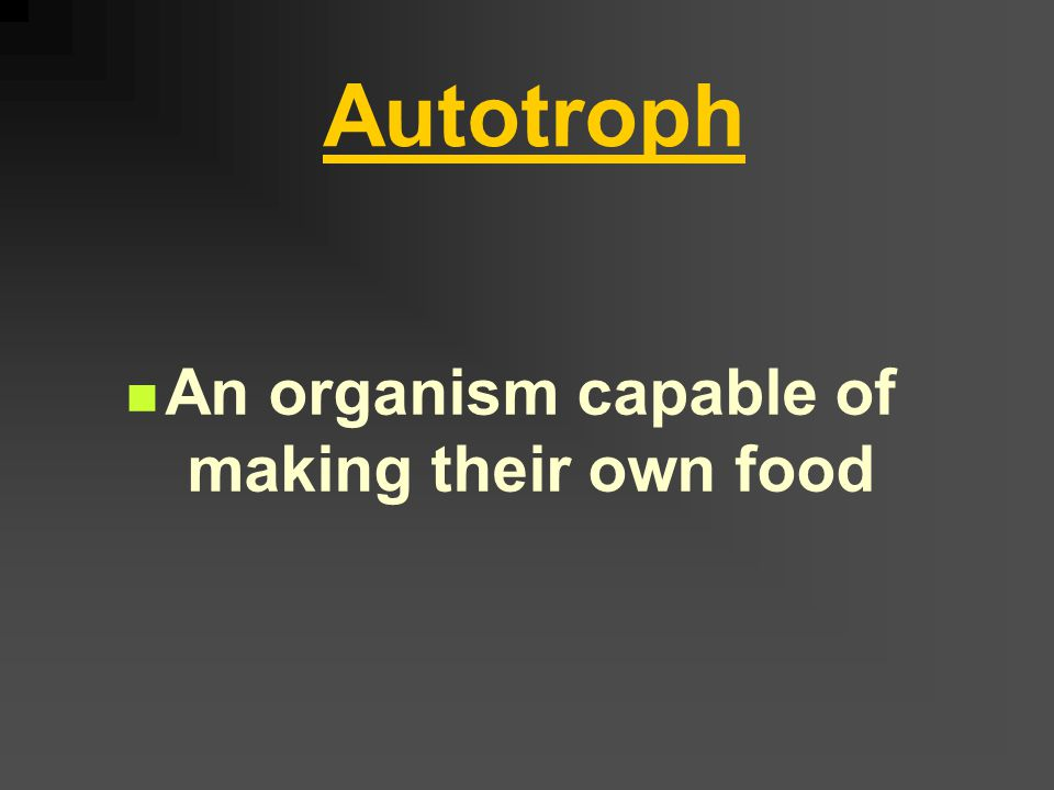 (I) Autotrophic Nutrition A type of nutrition in which an organism can make its own food Ex: green plants algae some bacteria