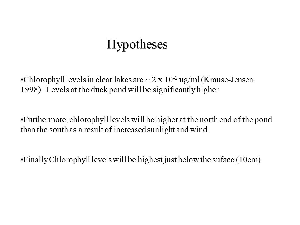 Hypotheses Chlorophyll levels in clear lakes are ~ 2 x 10 -2 ug/ml (Krause-Jensen 1998).