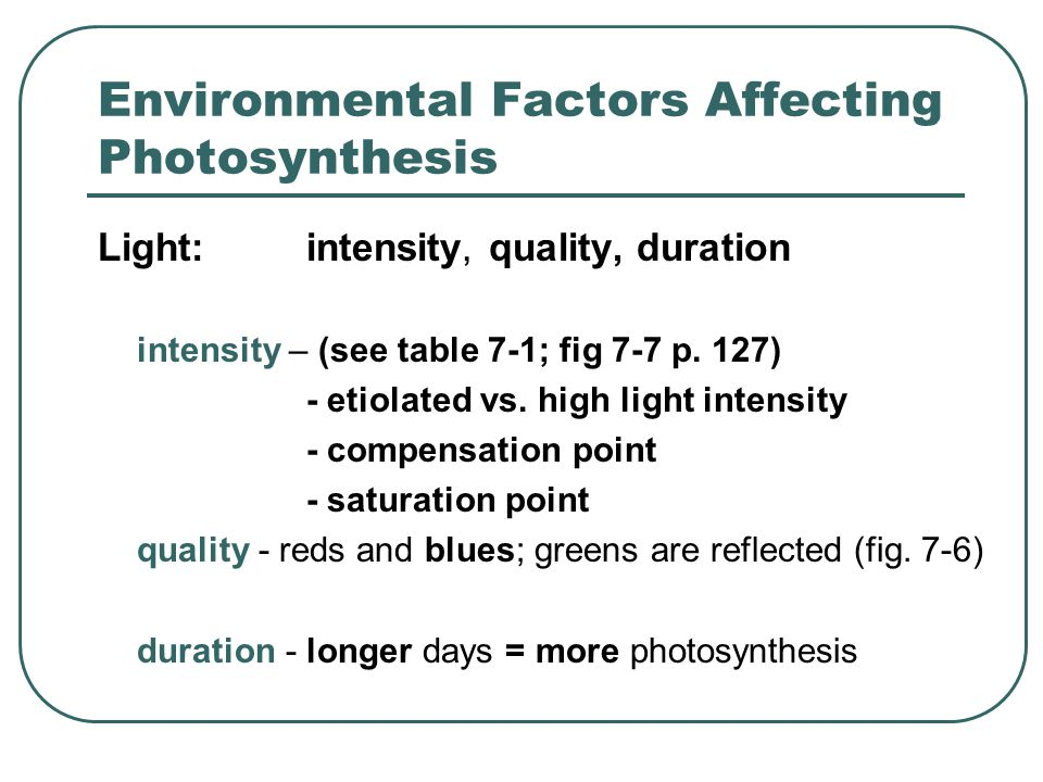 Environmental Factors Affecting Photosynthesis Light:intensity, quality, duration intensity – (see table 7-1; fig 7-7 p.