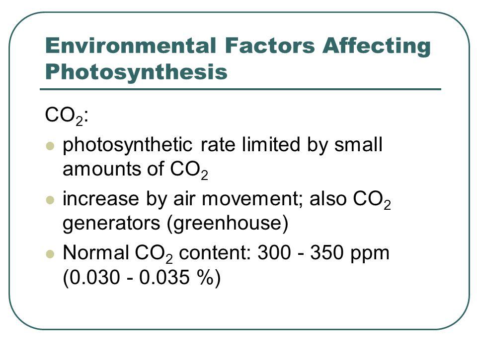 Environmental Factors Affecting Photosynthesis CO 2 : photosynthetic rate limited by small amounts of CO 2 increase by air movement; also CO 2 generators (greenhouse) Normal CO 2 content: 300 - 350 ppm (0.030 - 0.035 %)