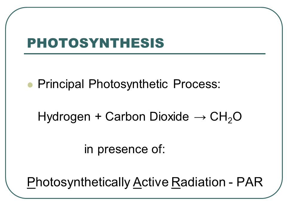 PHOTOSYNTHESIS Principal Photosynthetic Process: Hydrogen + Carbon Dioxide → CH 2 O in presence of: Photosynthetically Active Radiation - PAR