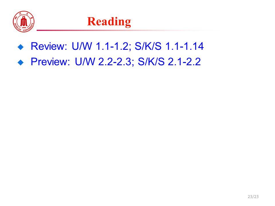 Reading  Review: U/W 1.1-1.2; S/K/S 1.1-1.14  Preview: U/W 2.2-2.3; S/K/S 2.1-2.2 23/23