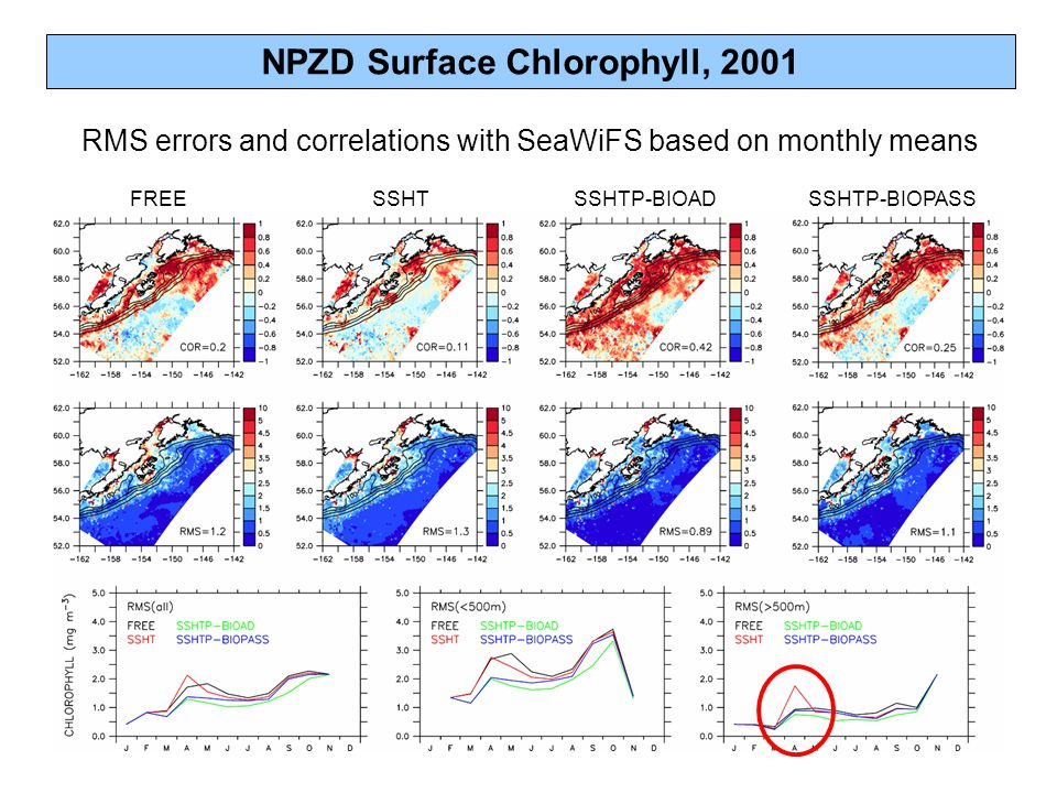NPZD Surface Chlorophyll, 2001 RMS errors and correlations with SeaWiFS based on monthly means FREESSHTSSHTP-BIOADSSHTP-BIOPASS
