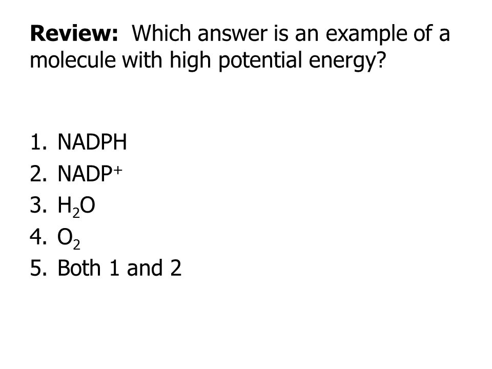 Review: Which answer is an example of a molecule with high potential energy? 1.NADPH 2.NADP + 3.H 2 O 4.O 2 5.Both 1 and 2
