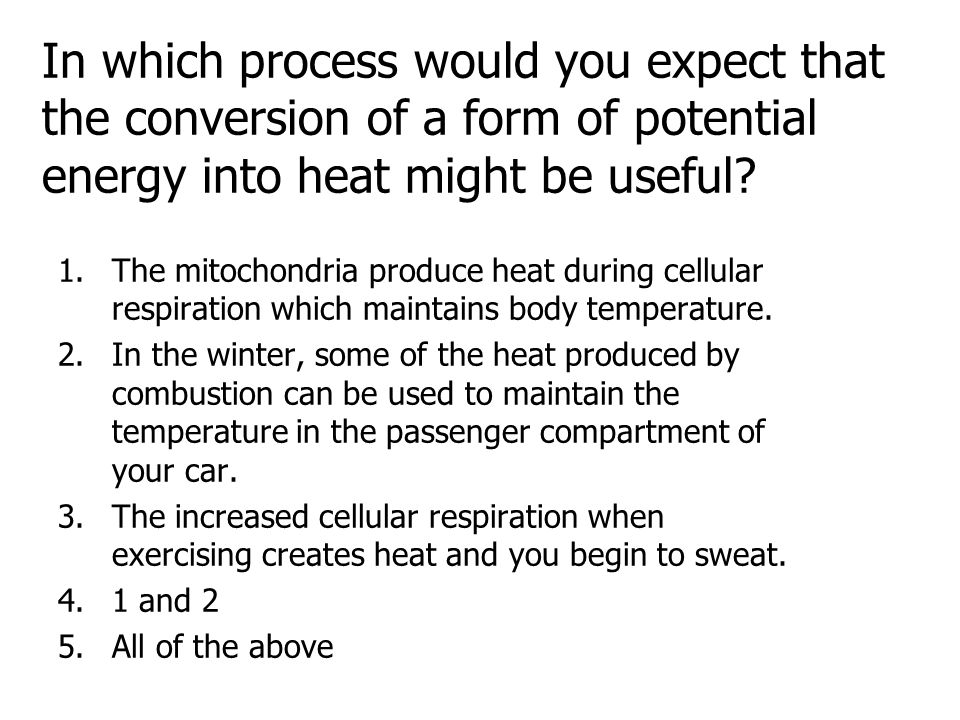 In which process would you expect that the conversion of a form of potential energy into heat might be useful? 1.The mitochondria produce heat during