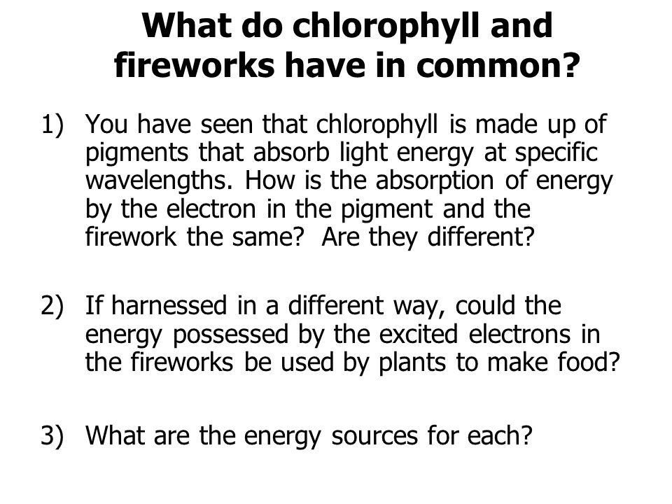 1)You have seen that chlorophyll is made up of pigments that absorb light energy at specific wavelengths. How is the absorption of energy by the elect
