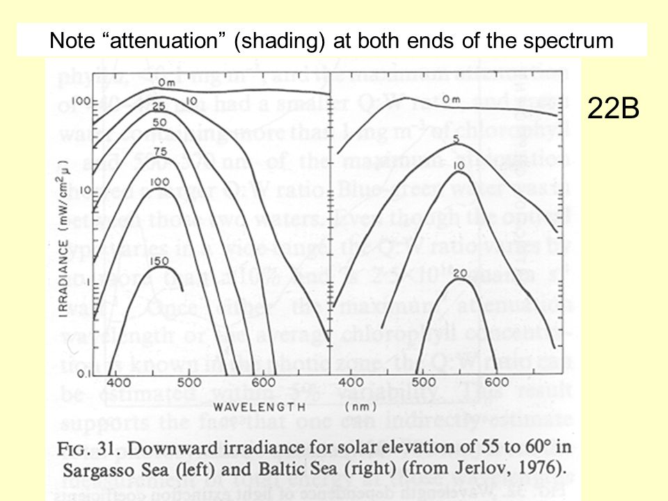 Note attenuation (shading) at both ends of the spectrum 22B