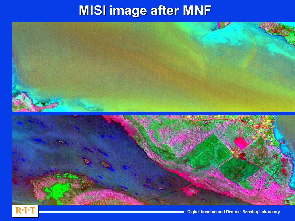 Digital Imaging and Remote Sensing Laboratory R.I.TR.I.TR.I.TR.I.T R.I.TR.I.TR.I.TR.I.T MISI image after MNF