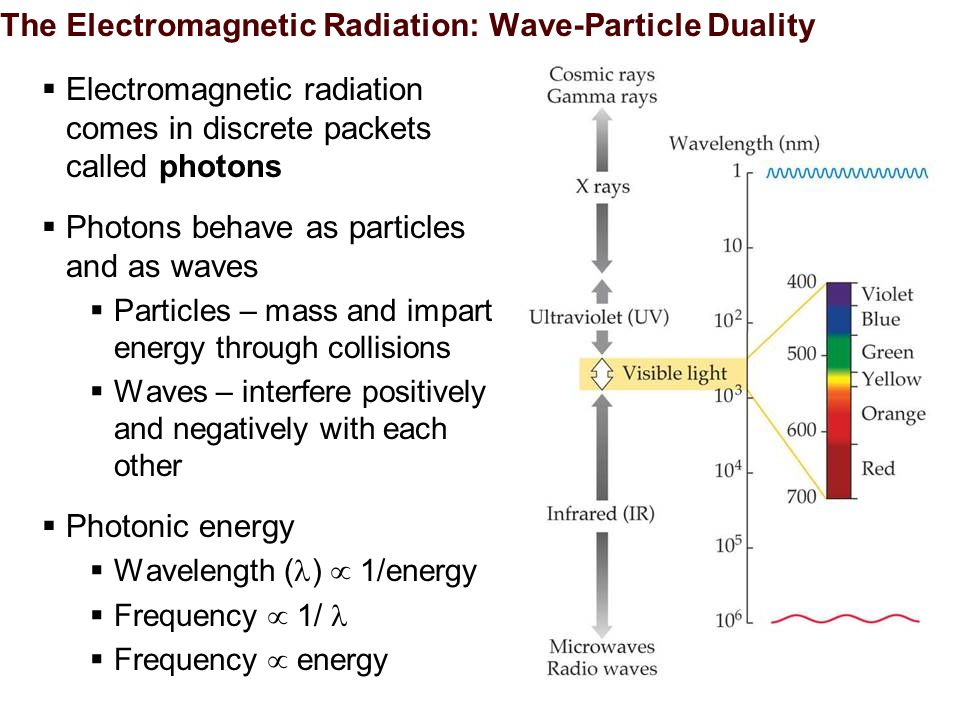 The Electromagnetic Radiation: Wave-Particle Duality  Electromagnetic radiation comes in discrete packets called photons  Photons behave as particles and as waves  Particles – mass and impart energy through collisions  Waves – interfere positively and negatively with each other  Photonic energy  Wavelength ( )  1/energy  Frequency  1/  Frequency  energy