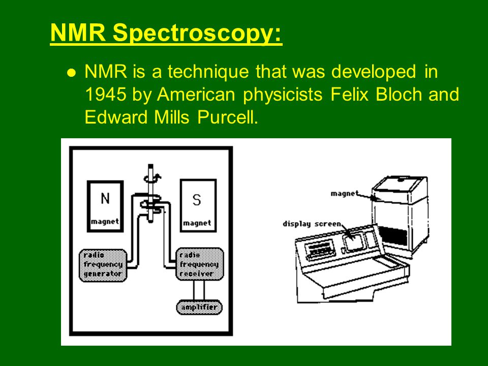 NMR Spectroscopy: NMR is a technique that was developed in 1945 by American physicists Felix Bloch and Edward Mills Purcell.