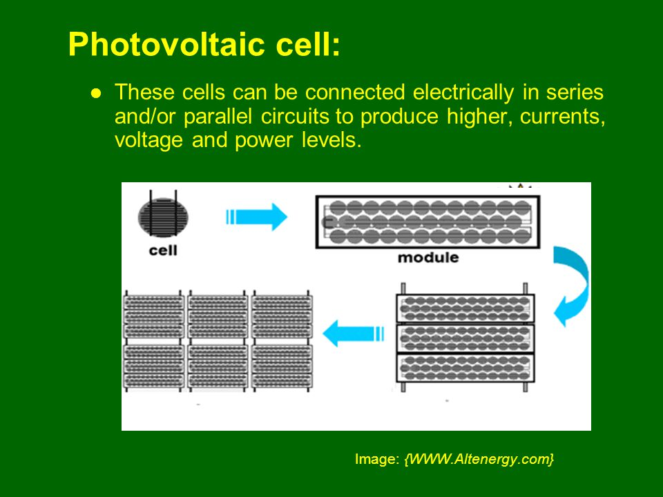 Photovoltaic cell: These cells can be connected electrically in series and/or parallel circuits to produce higher, currents, voltage and power levels.