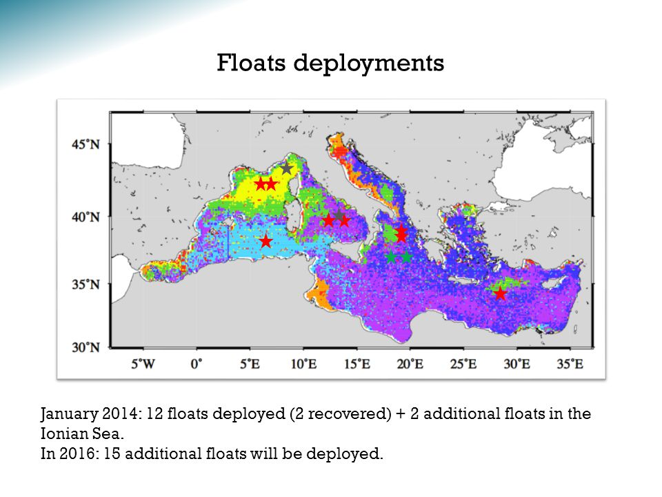 Floats deployments January 2014: 12 floats deployed (2 recovered) + 2 additional floats in the Ionian Sea.