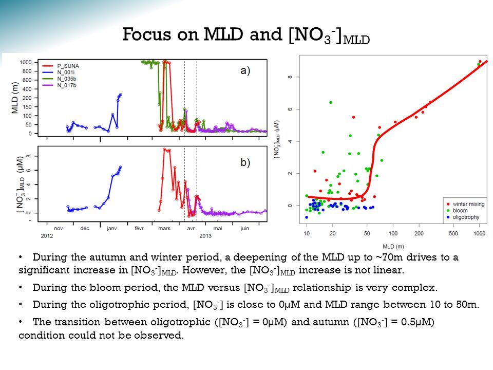 Focus on MLD and [NO 3 - ] MLD During the autumn and winter period, a deepening of the MLD up to ~70m drives to a significant increase in [NO 3 - ] MLD.