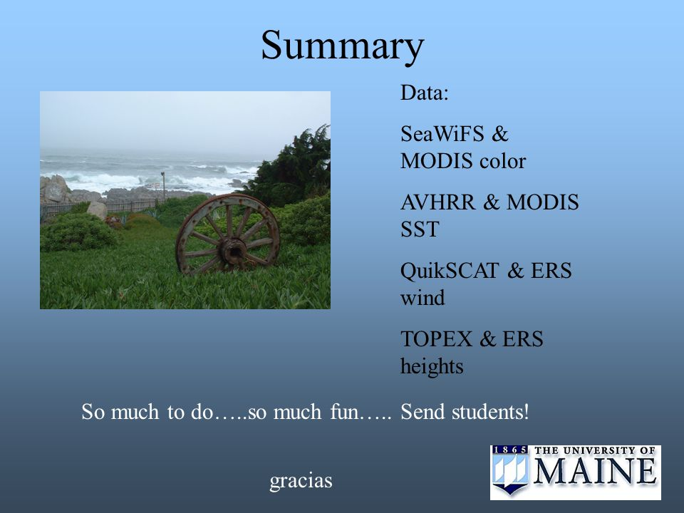 Summary Data: SeaWiFS & MODIS color AVHRR & MODIS SST QuikSCAT & ERS wind TOPEX & ERS heights gracias So much to do…..so much fun…..